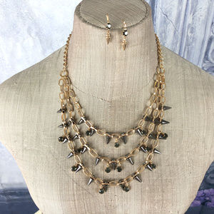 Jewelry - Gunmetal Crystal Spikes Necklace & Earrings Set